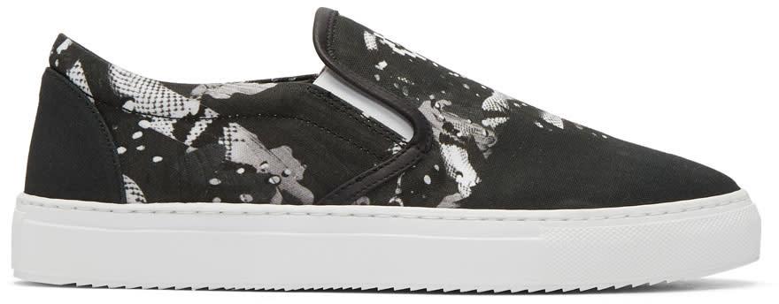 Marcelo Burlon County Of Milan Black Camou Wing Slip-on Sneakers