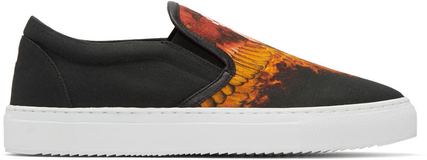 Marcelo Burlon County Of Milan Black Flame Wing Slip-on Sneakers