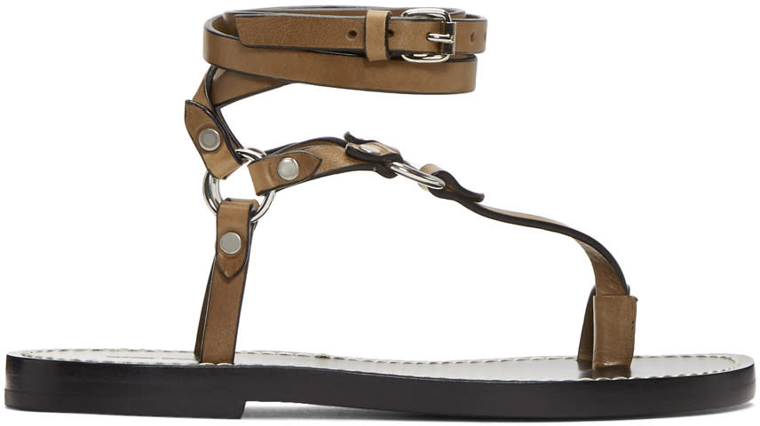 Isabel Marant Brown and Black Joxy Elegant O-ring Sandle