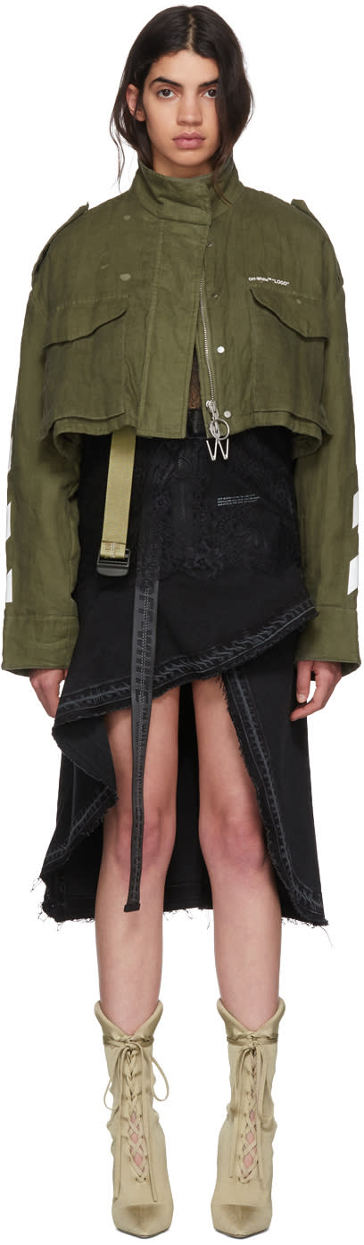Off-white Green Diagonal Cropped M65 Military Jacket
