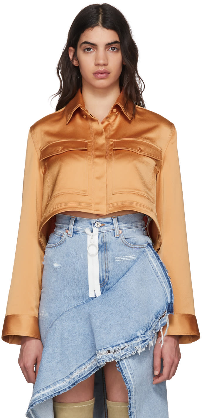 Off-white Beige Pajama Cropped Shirt