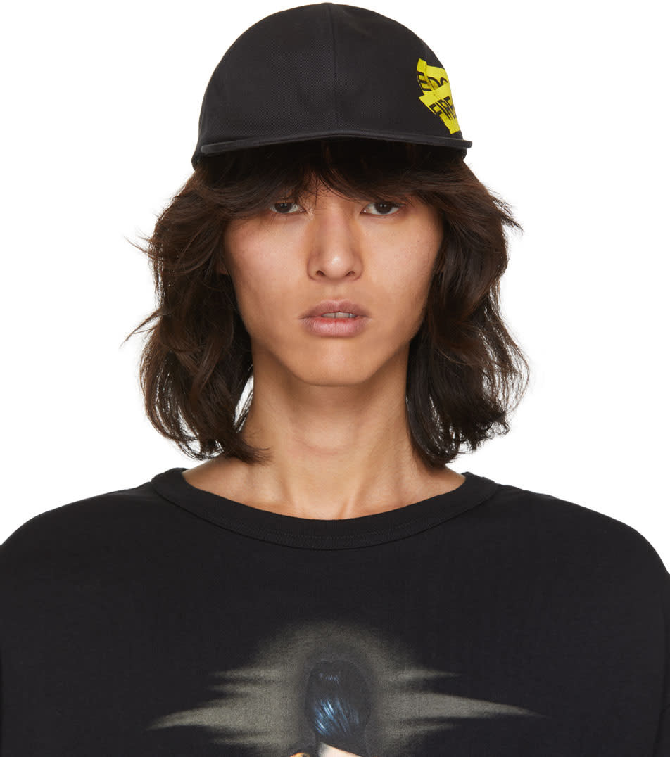 Image of Off-white Black and Yellow Firetape Cap