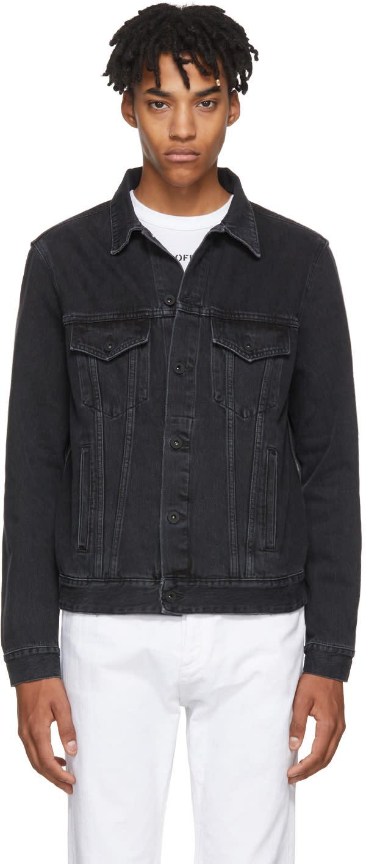 6ba7ff67 Off white Black Denim Slim Firetape Jacket Long sleeve denim jacket in  black. Fading throughout. Spread collar. Button closure at front.