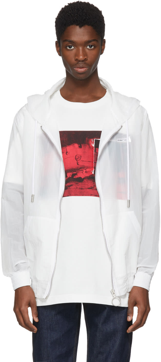 Off white White Transparent Nylon Zip Hoodie