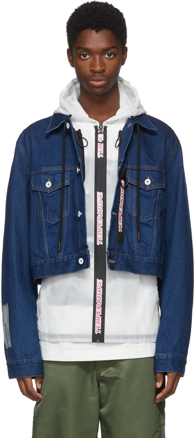 Off white Blue Layered Hooded Denim Jacket