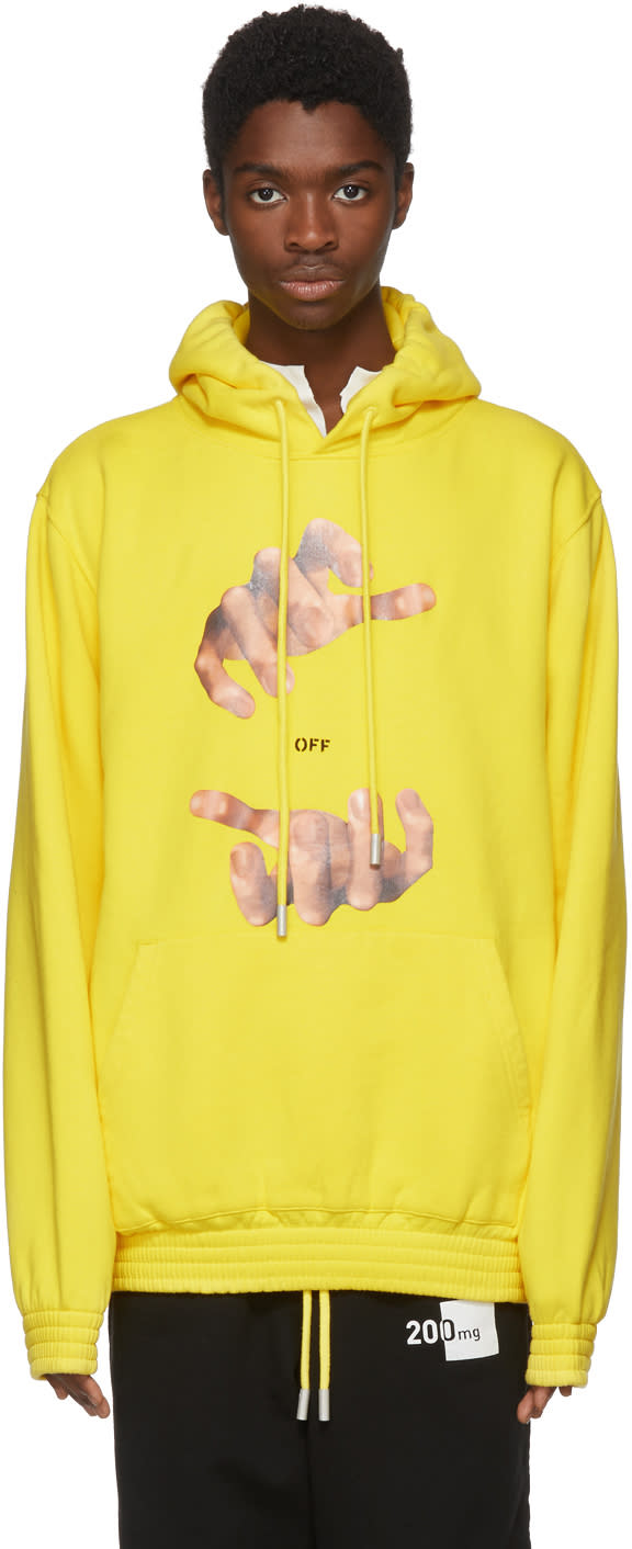 Off white Yellow Hands Hoodie