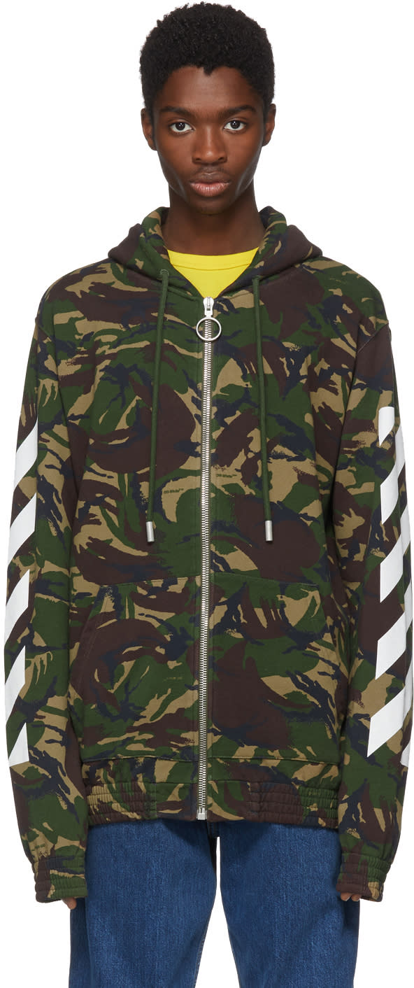 Off white Multicolor Camouflage Diagonal Hoodie