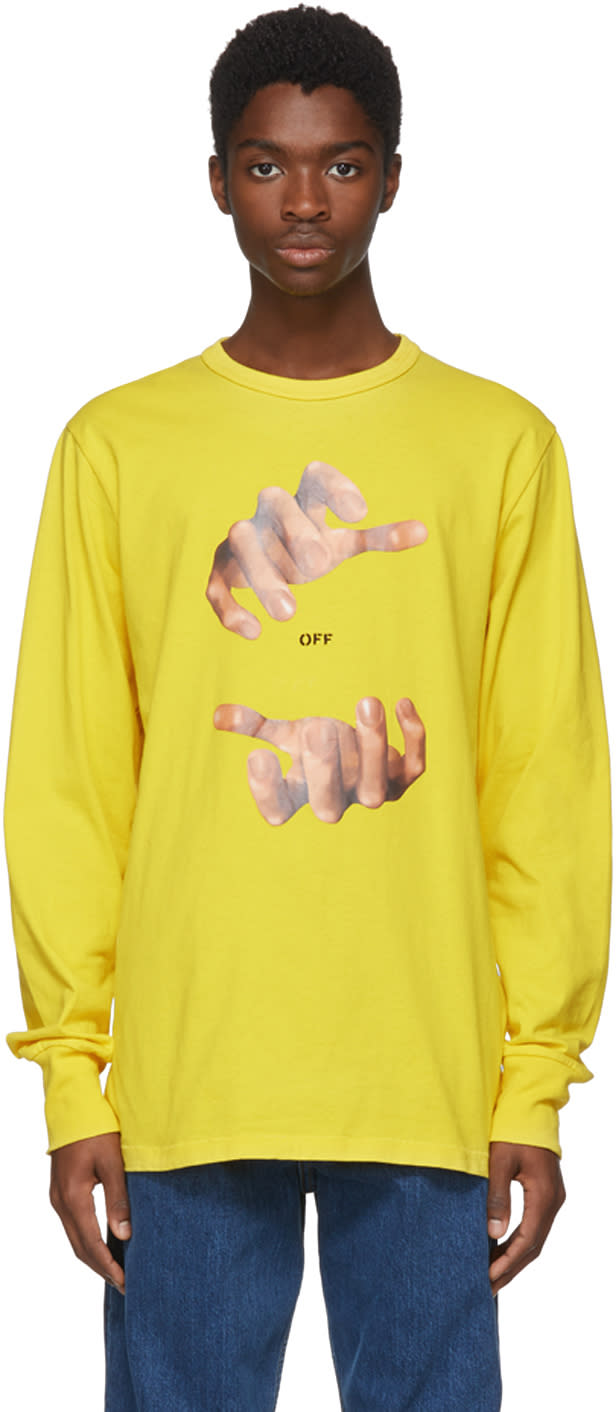 Off white Yellow Long Sleeve Hands T shirt