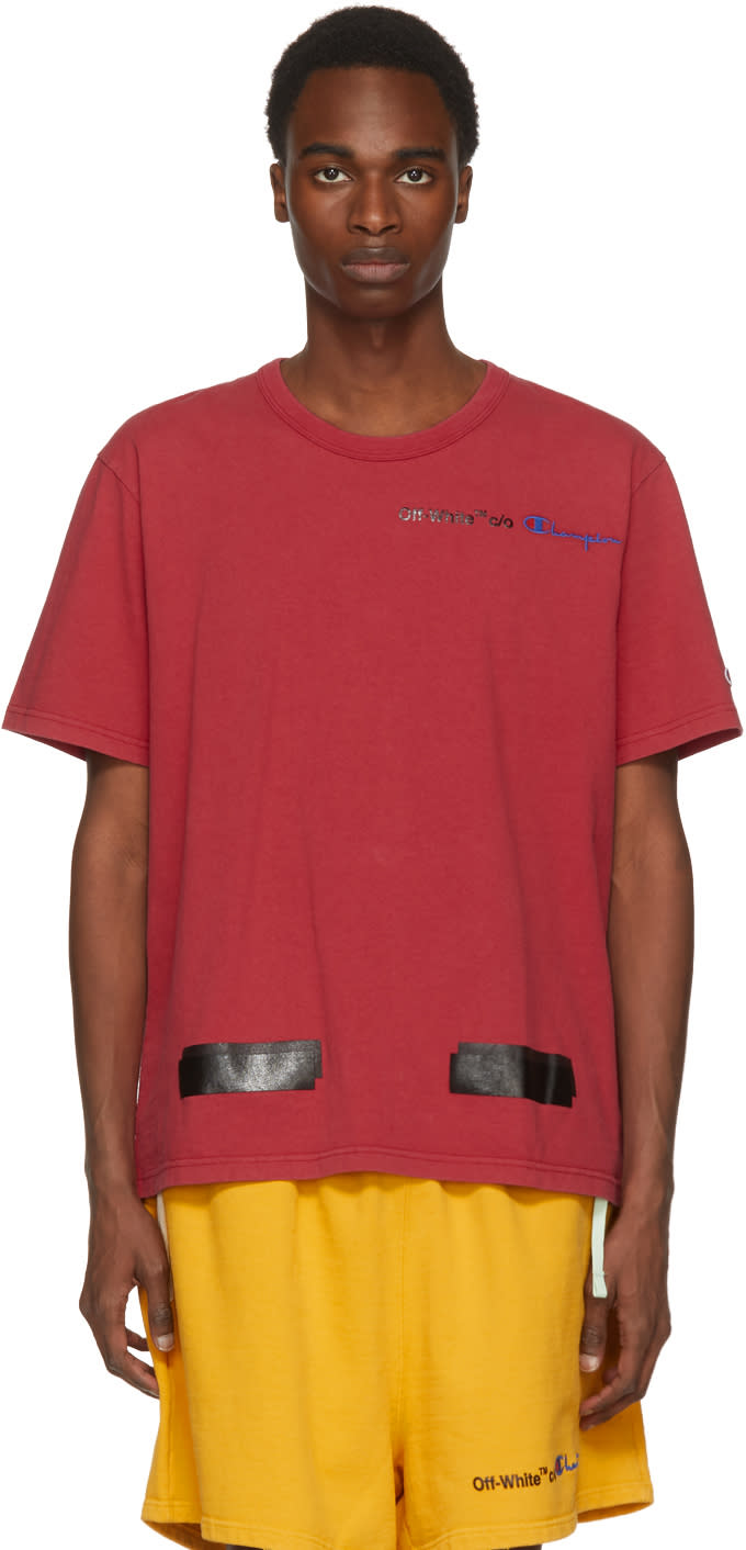 641007752e67 Off white Red Champion Reverse Weave Edition T shirt
