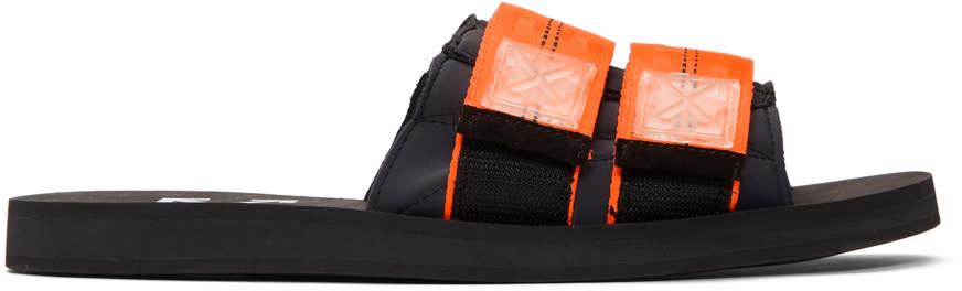 Off-white Black and Orange Industrial Slides