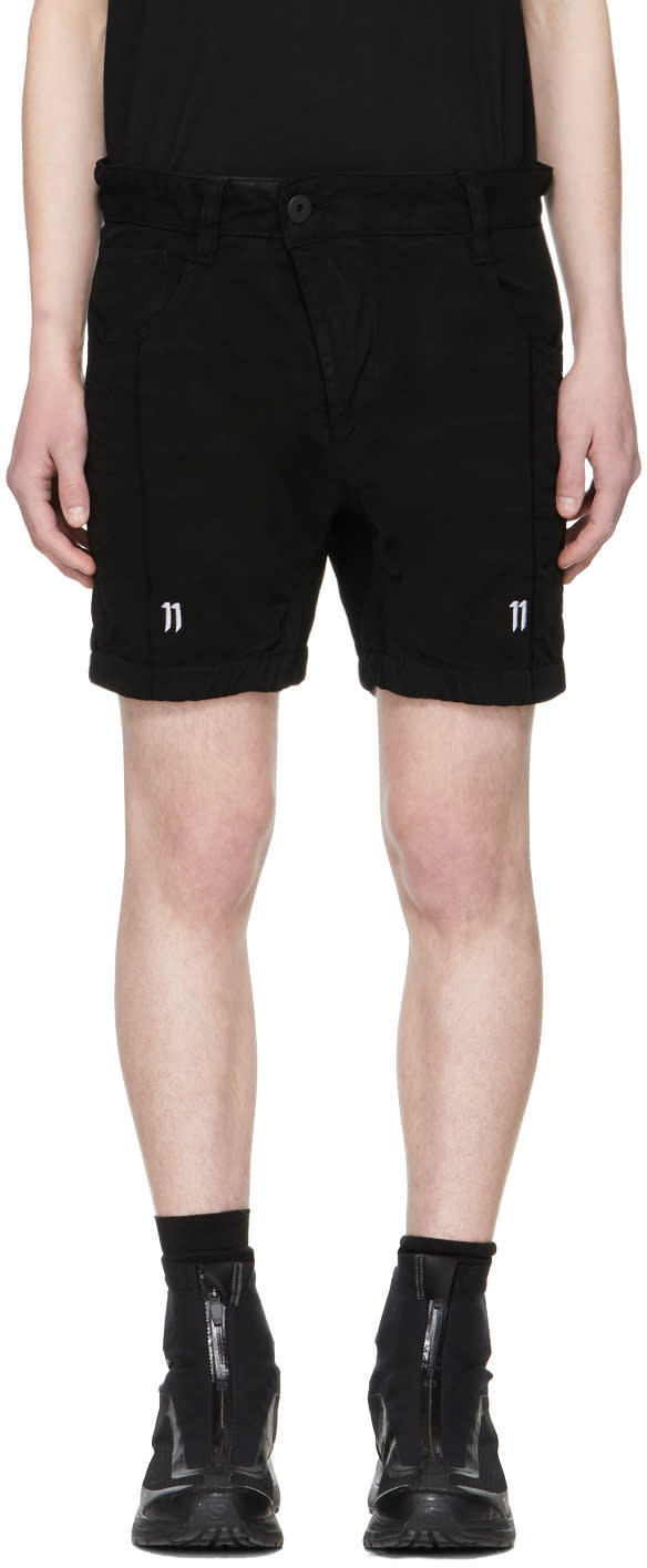 11 By Boris Bidjan Saberi Black Shaped Shorts