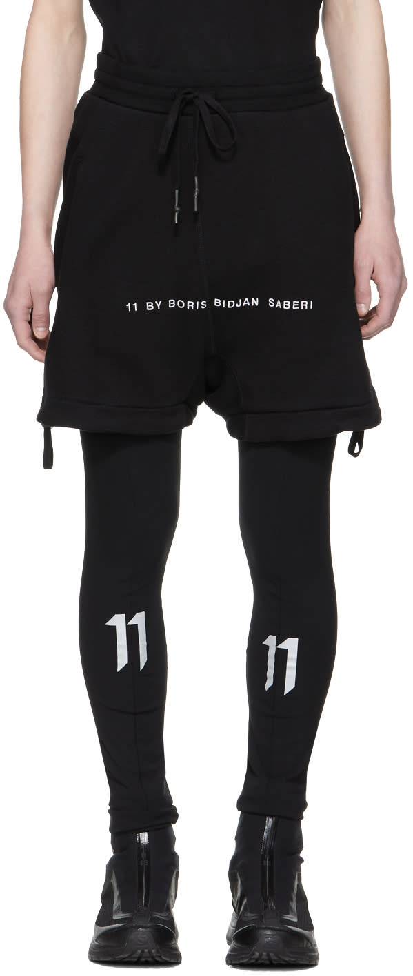 11 By Boris Bidjan Saberi Black Logo Lounge Shorts