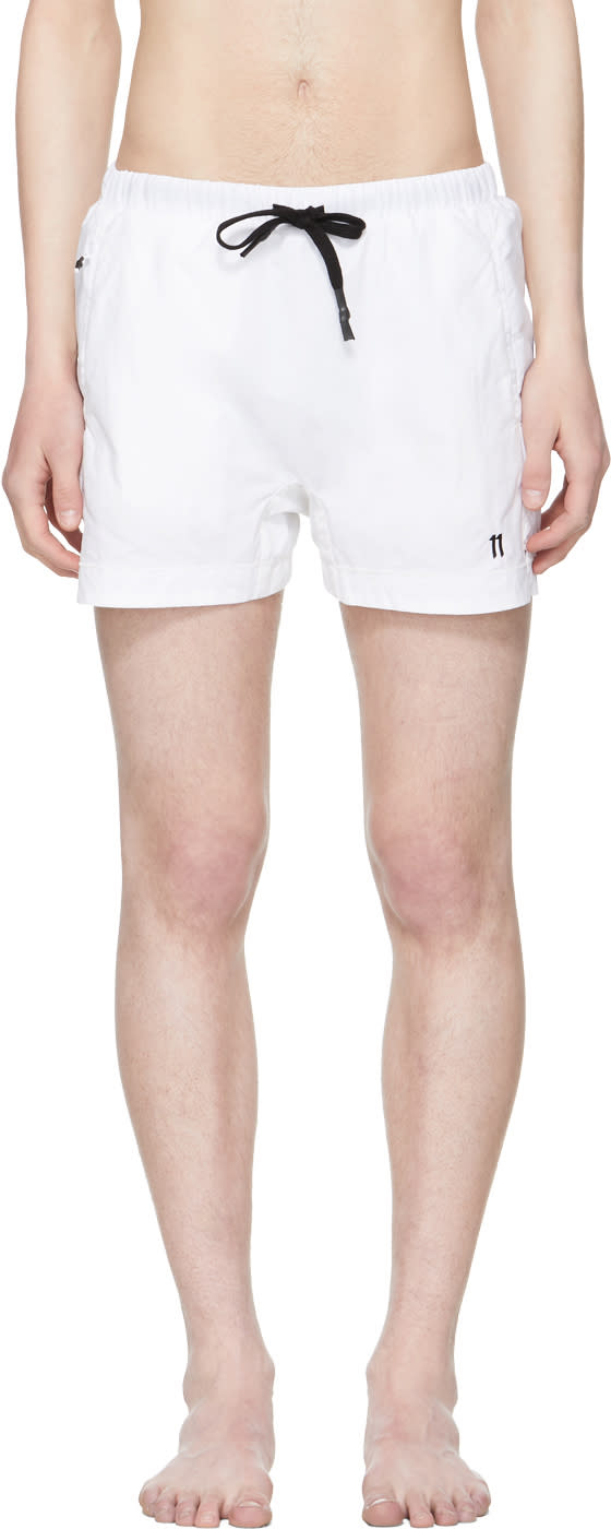 11 By Boris Bidjan Saberi White Logo Swim Shorts