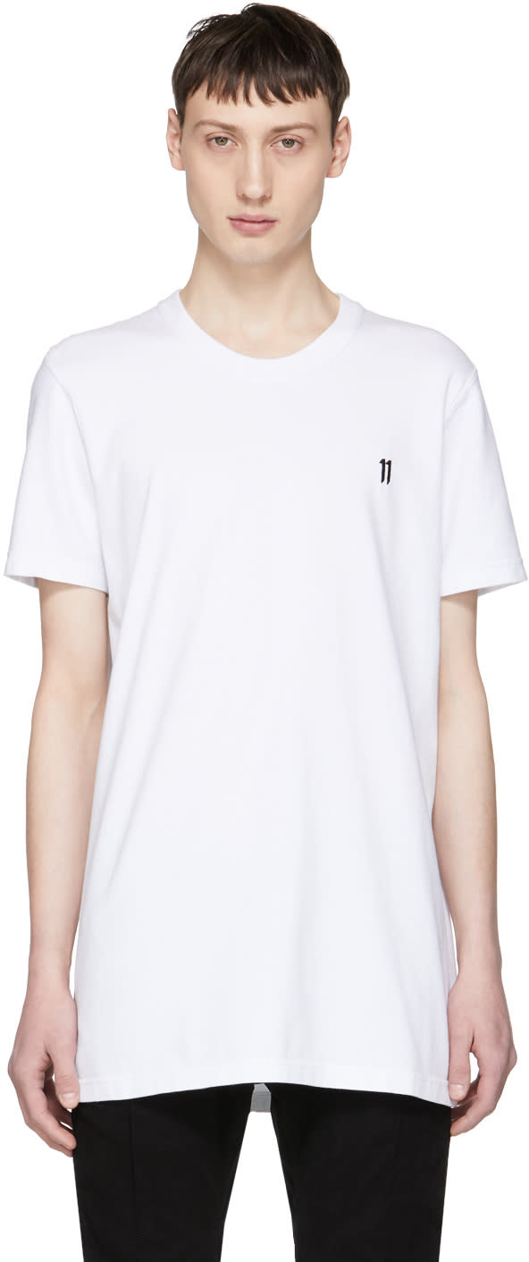 11 By Boris Bidjan Saberi White Basic Logo T shirt