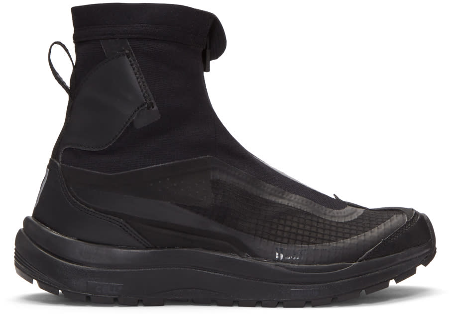 11 By Boris Bidjan Saberi Black Salomon Edition Zip up High top Sneakers