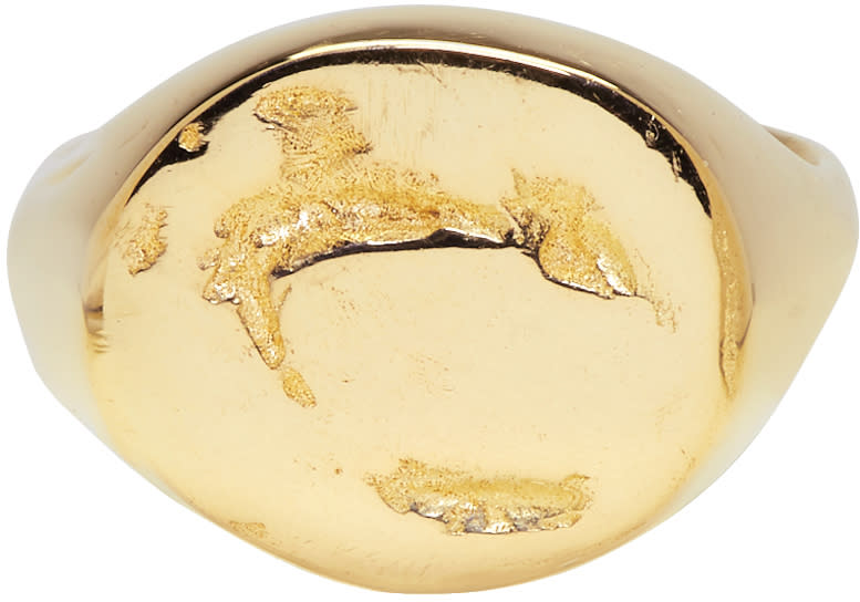 Image of Pearls Before Swine Gold Signet Pinky Ring