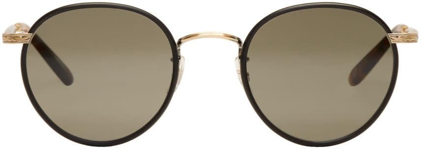 Image of Garrett Leight Black and Gold Wilson Sunglasses