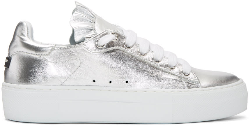 2d0108c8d1af86 Jil Sander Navy Silver Metallic Ruffle Sneakers