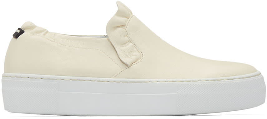 Image of Jil Sander Navy Beige Ruffle Slip-on Sneakers