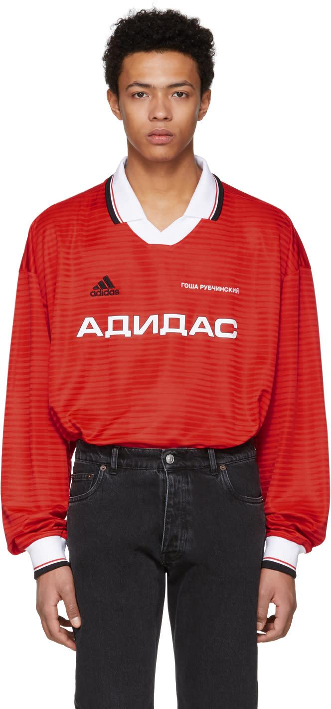 Gosha Rubchinskiy レッド ロング スリーブ Adidas Originals Edition ポロ