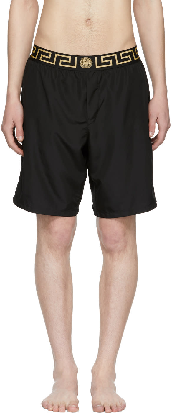 Image of Versace Underwear Black Greek Key Medusa Swim Shorts