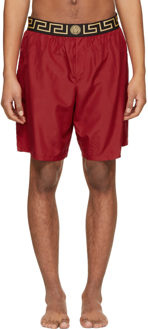 9357197a77 Versace Underwear Red Greek Key Medusa Swim Shorts