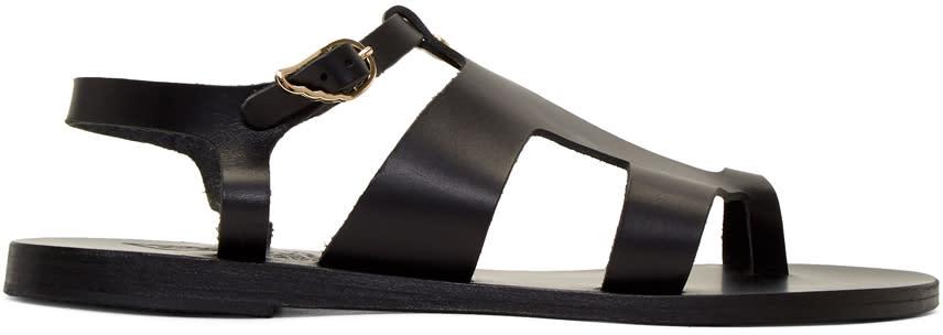 Ancient Greek Sandals Black Leather Thira Sandals