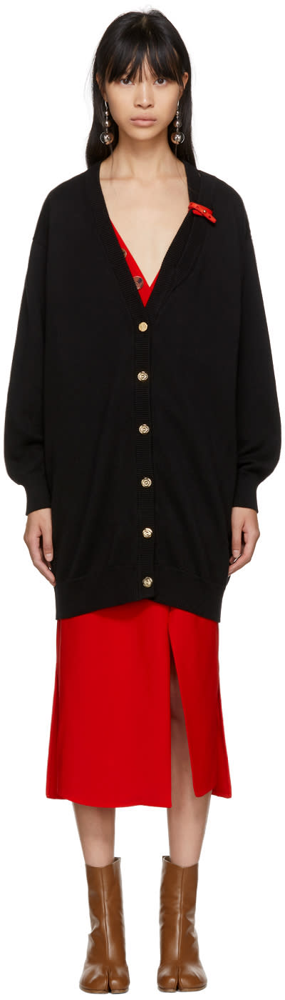 Loewe Black Leather Band Cardigan