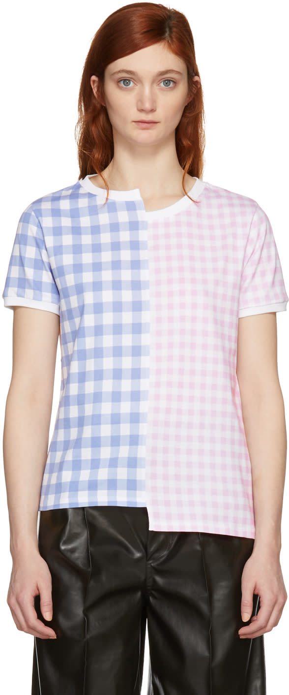 Loewe Pink and Blue Gingham loewe T shirt