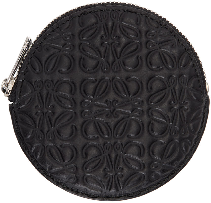 Image of Loewe Black Anagram Cookie Zip Coin Pouch