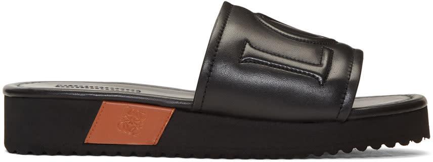 Loewe Black Leather Slides