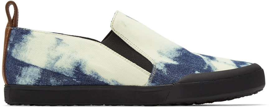 Loewe Blue and White Bleached Denim Slip-on Sneakers
