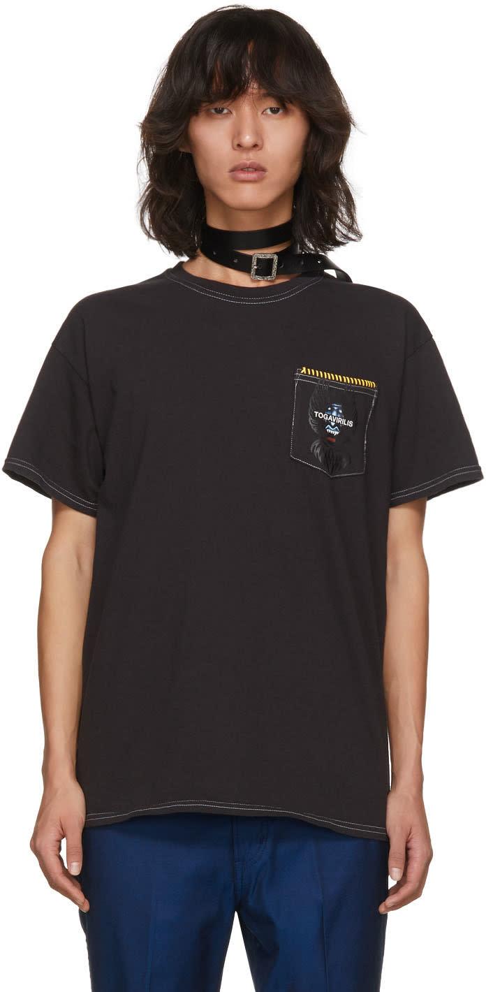 Image of Toga Virilis Grey Graphic Pocket T-shirt