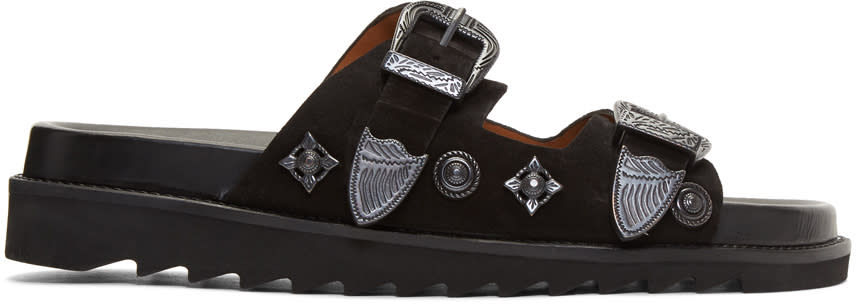 Toga Virilis Black Suede Charm Sandals