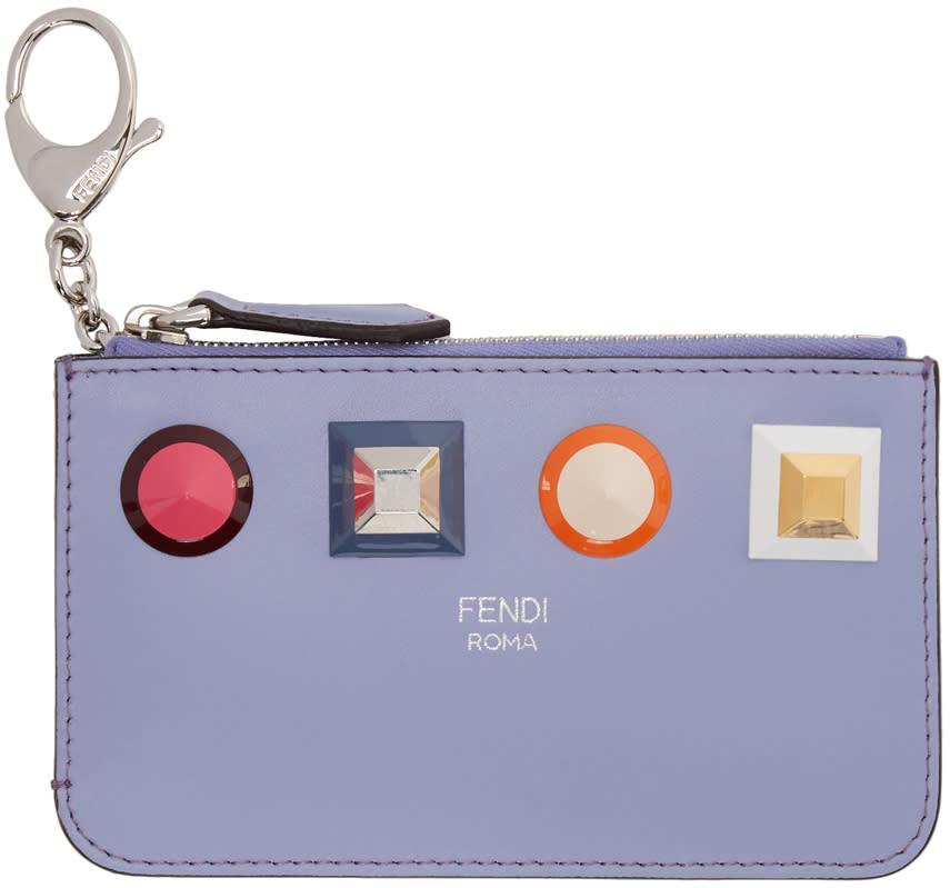 reputable site 379b5 a4848 Fendi Blue Rainbow Zip Card Holder