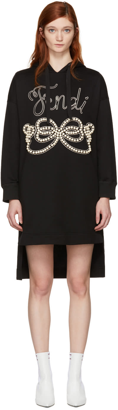 Fendi Black Pearls Bow Hoodie Dress
