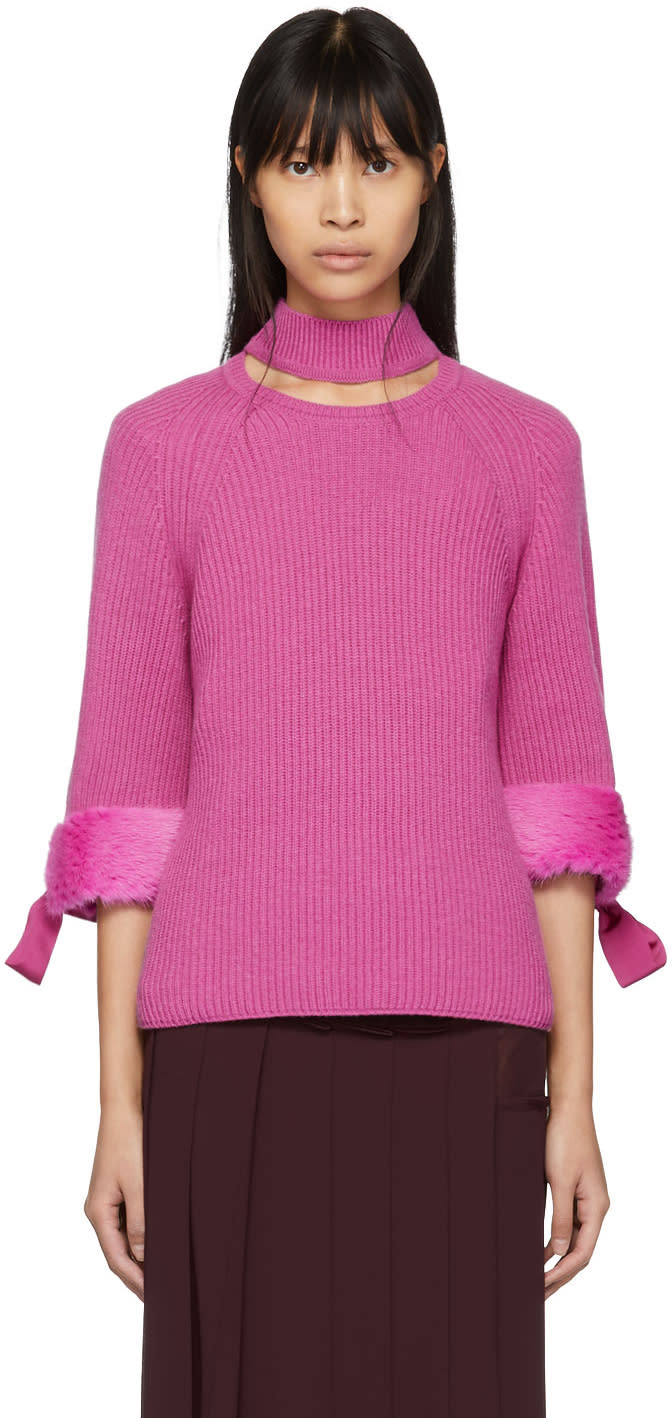 Fendi Pink Fur-trimmed Cashmere Turtleneck