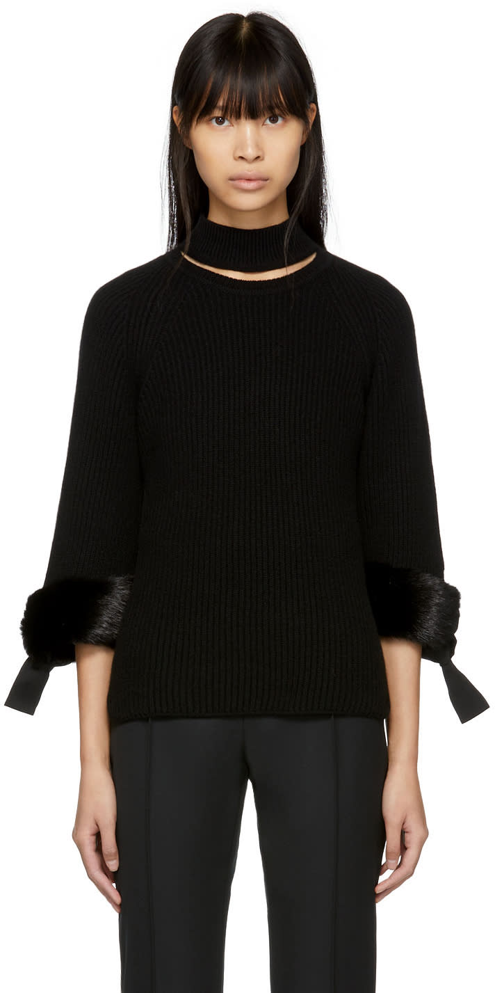 Fendi Black Fur-trimmed Cashmere Turtleneck