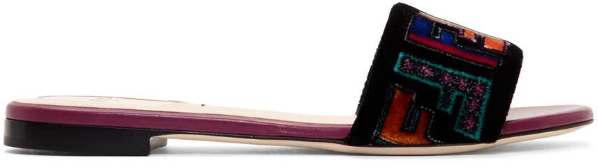 Fendi Multicolor Embroidered Velvet Sandals