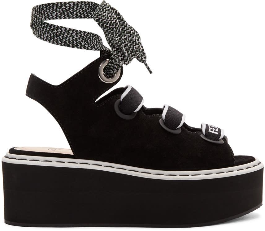 Fendi Black Flatform Sandals