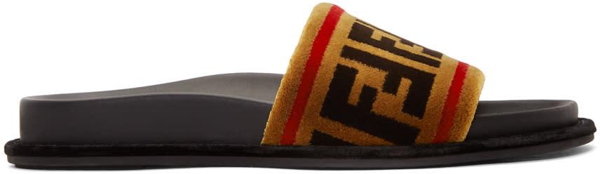 Fendi Brown Velvet Logo Slides