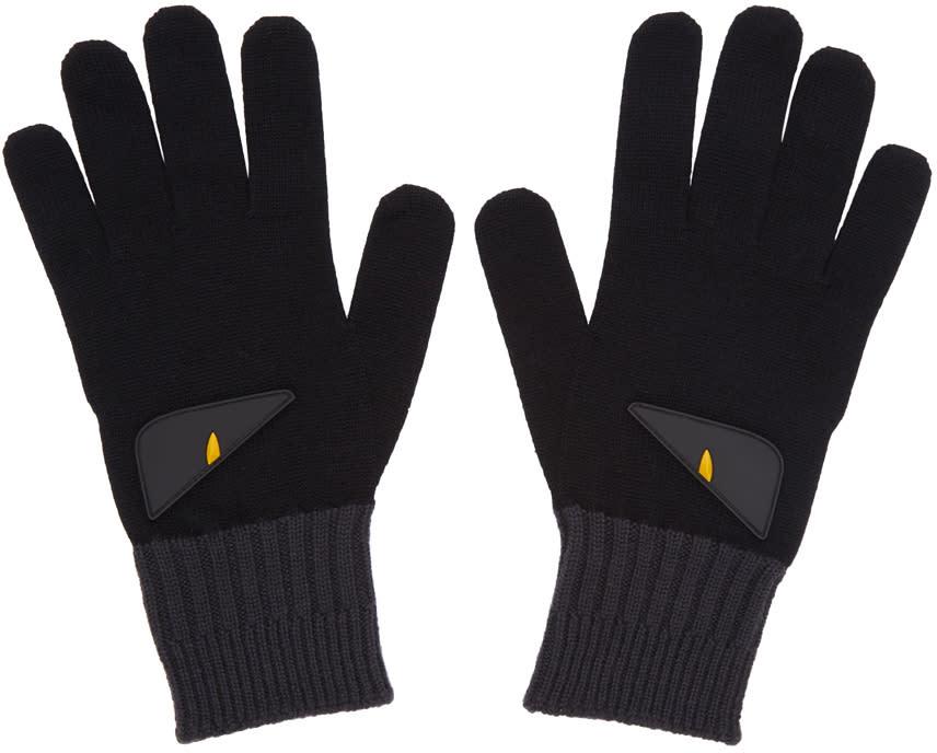 Fendi Black and Grey bag Bugs Gloves