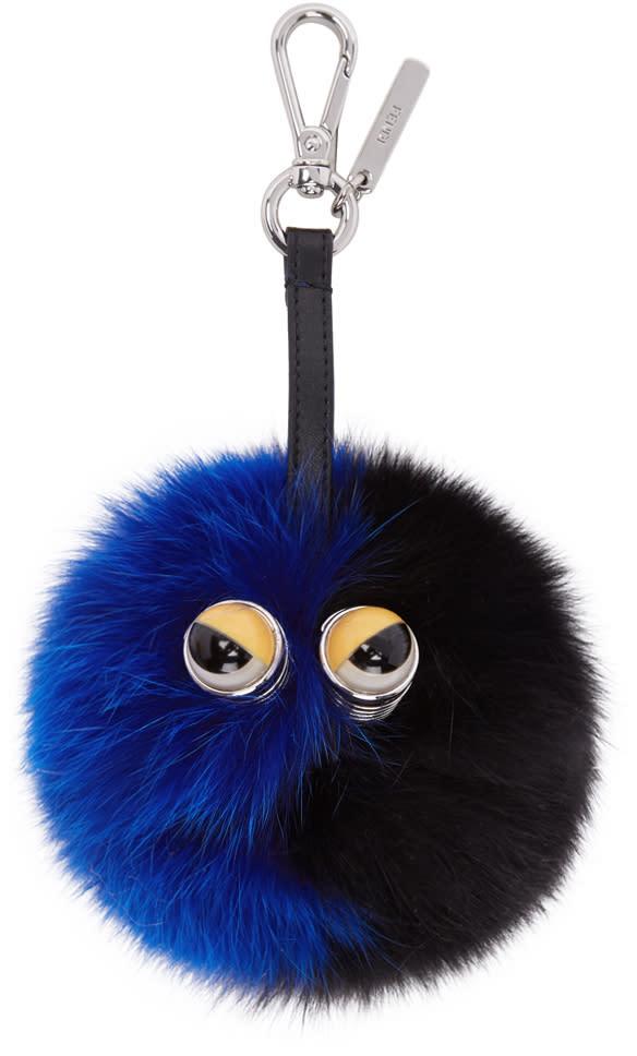 fac28e63c14 Fendi Black and Blue Fur Pom Pom Keychain