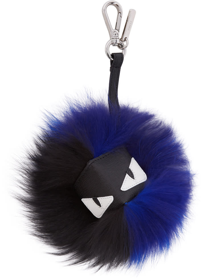 Image of Fendi Black and Blue Fur bag Bugs Keychain