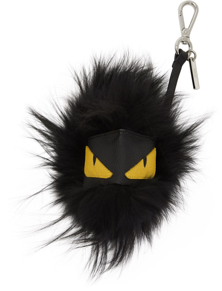 cb626628e3 Fendi Black Fur bag Bugs Keychain