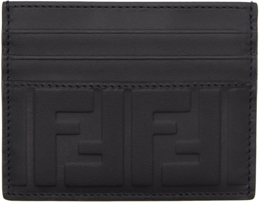 a14fe80a83 Fendi Black Embossed Logo Card Holder