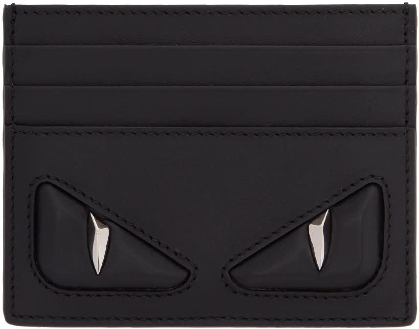 Image of Fendi Black 3d bag Bugs Card Holder