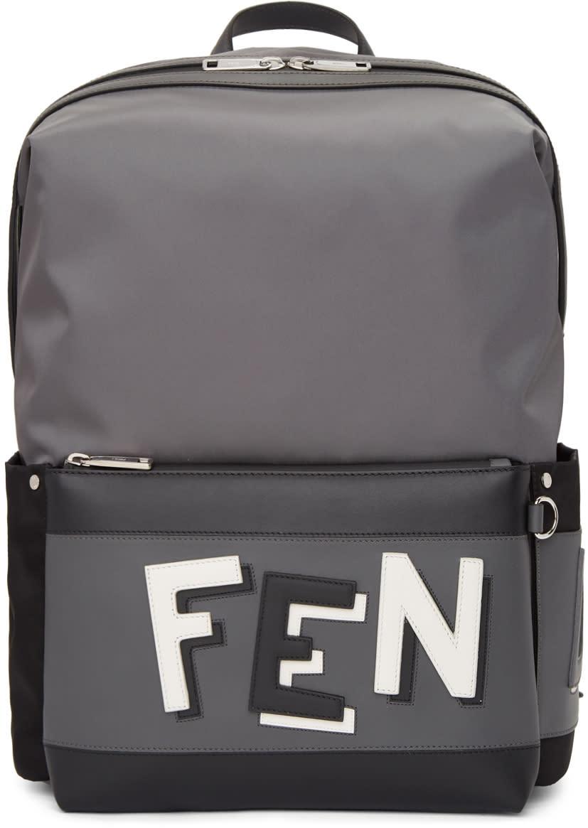 1d5d94f3f Fendi Grey and Black Nylon Backpack