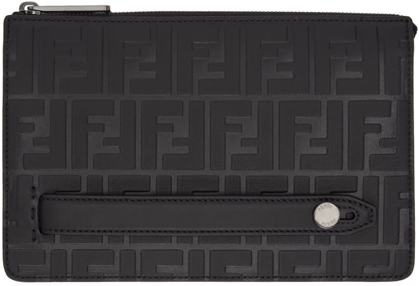 4d21485d7ec Fendi Black Embossed Signature Clutch
