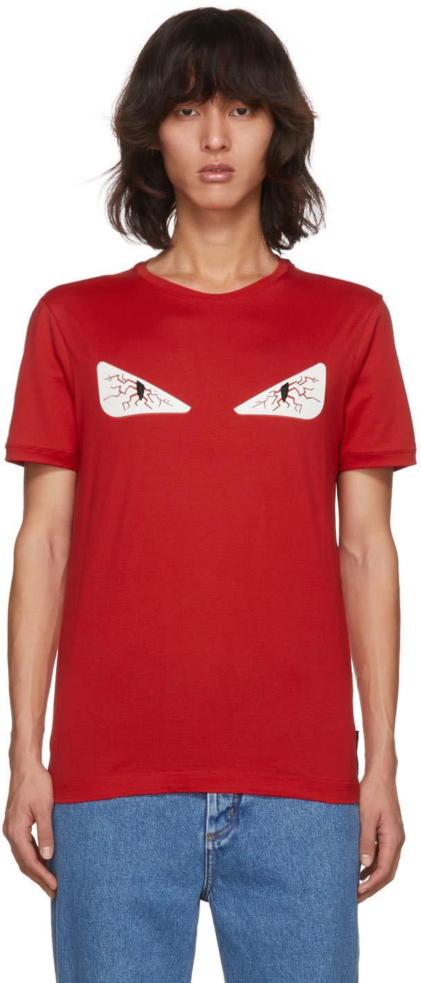 21129899c Fendi Red Tired Eye bag Bugs T shirt